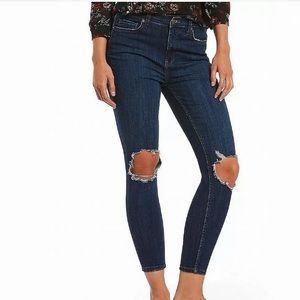 Free People skinny ripped knee jeans high rise